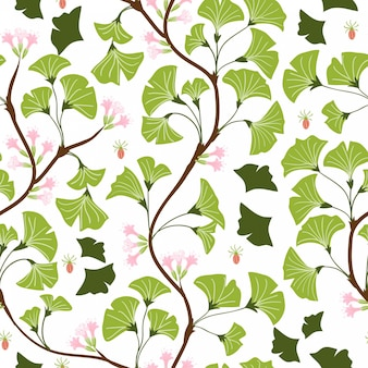 Ginkgo leaf and flower seamless pattern