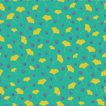 Ginkgo leaves seamless pattern background
