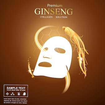 Ginseng collagen mask serum drop and vitamin advertising or promotion template for skin care cosmetic products