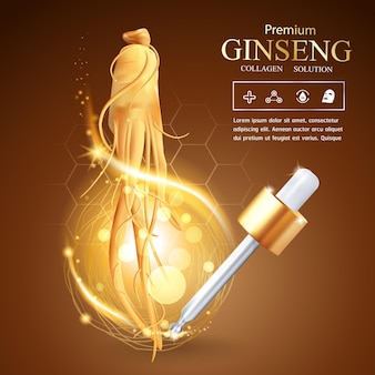Коллагеновая сыворотка с женьшенем и витаминный фон концепция ухода за кожей косметика