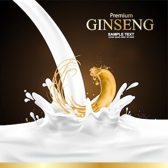 Ginseng and milk splash advertising or promotion template