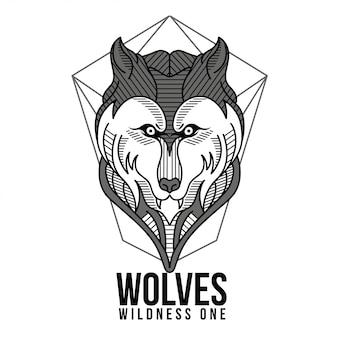 Giometric wolves black and white illustration