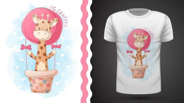 Giraffe and air balloon - idea for print t-shirt