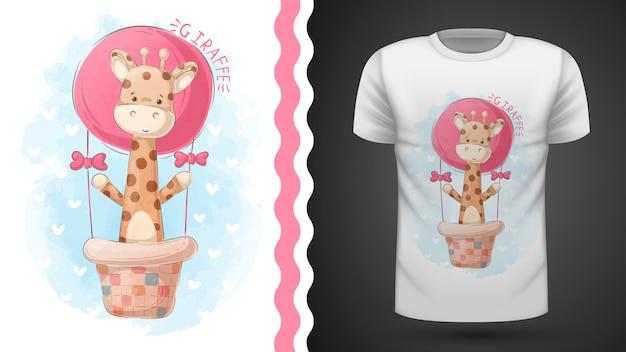 Жираф и воздушный шар - идея для печати футболки