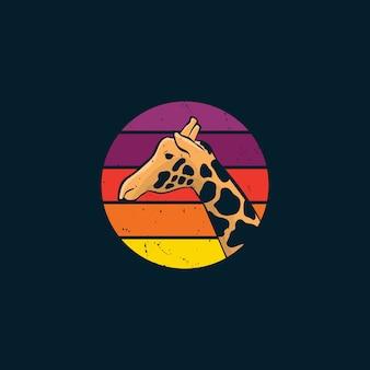빈티지 스타일 로고의 기린과 일몰