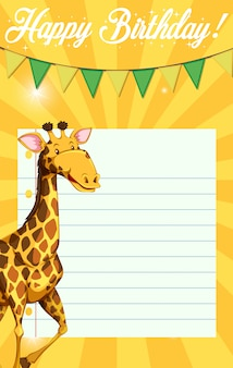 Giraffe on birthday note template