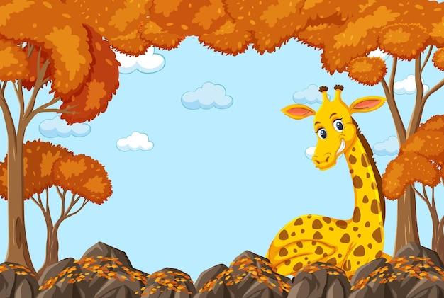 Giraffe cartoon character in blank autumn forest scene