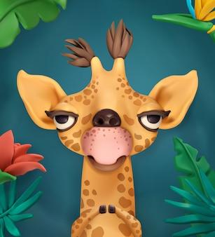 Giraffe, cartoon character, cute animals, vector illustration for greeting card