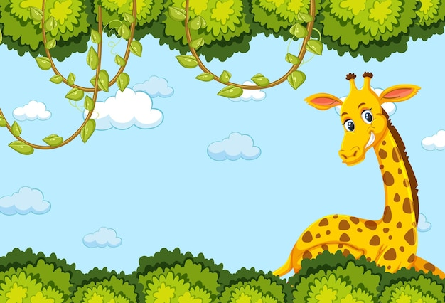 Giraffe cartoon character with forest leaves frame