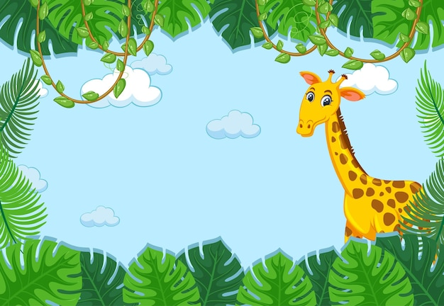 Giraffe cartoon character with tropical leaves frame