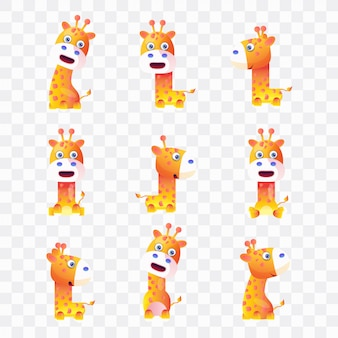 Giraffe cartoon with different poses and expressions.