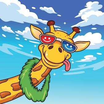 Мультфильмы жирафы с забавными выражениями лица в летних костюмах