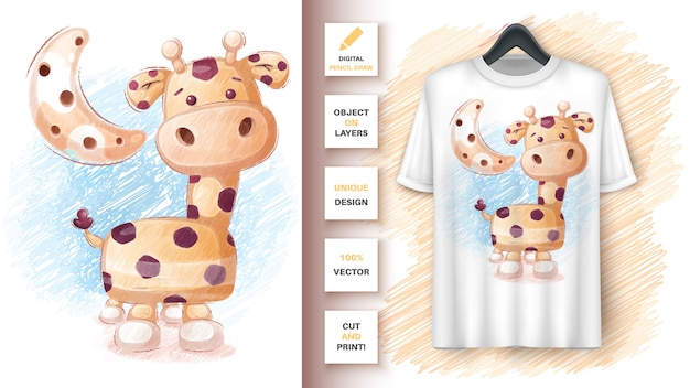 Giraffe colored pencils - poster and merchandising