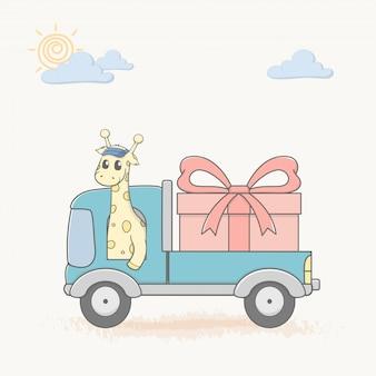 Giraffe drive a car with big gift box cartoon hand drawn