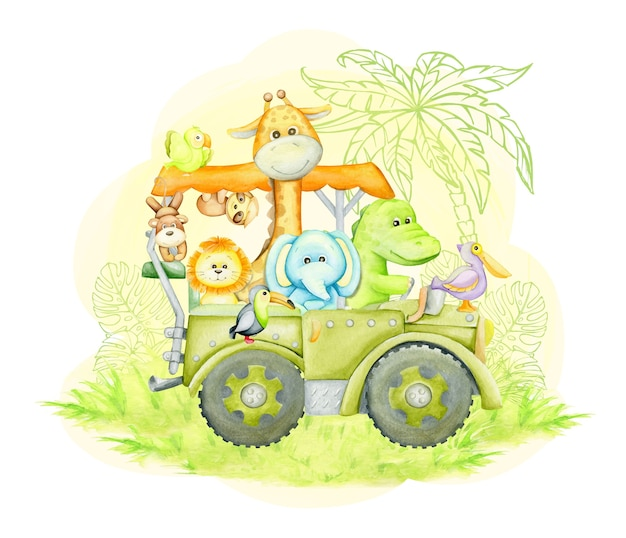 Giraffe, elephant, alligator, toucan, lion, monkey, sloth, traveling in a jeep. watercolor illustration