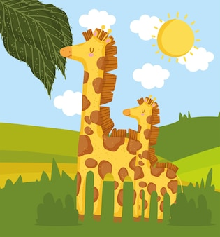 Giraffe family in meadow