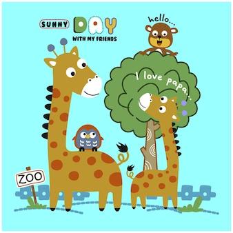 친구와 함께 기린 가족 재미있는 동물 만화