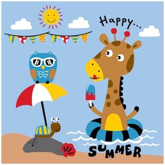 Giraffe and friends on the beach funny animal cartoon
