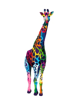 여러 가지 빛깔의 페인트에서 기린 수채화 물감의 스플래시 현실적인 그림