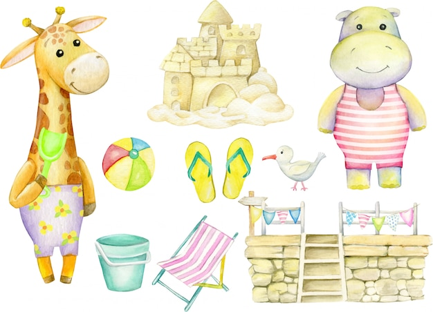 Giraffe, hippo, albatross, sandcastle, ball, pier, flags, beach slippers, bucket. watercolor set.