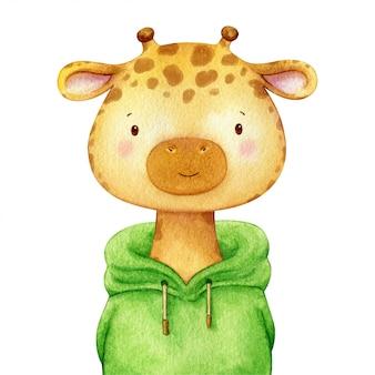 緑のセーターを着たキリンの子供。かわいいキャラクターの水彩イラスト。孤立した