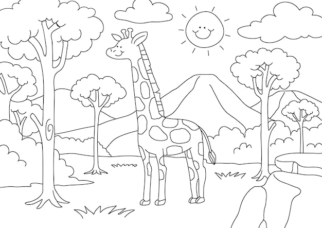 Giraffe kids coloring page vector, blank printable design for children to fill in