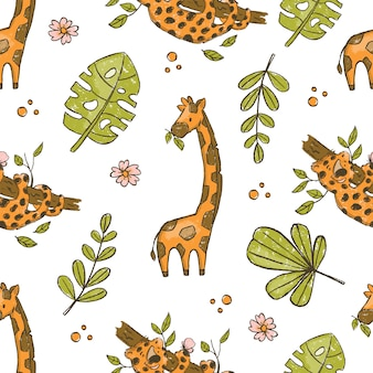 Giraffe and leopard hand drawn grunge