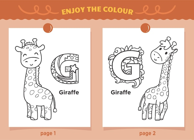 Giraffe and letter g coloring for kids