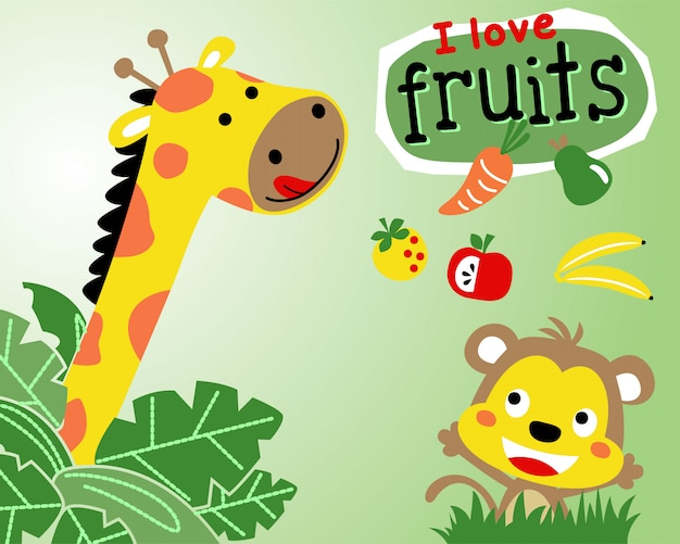 Giraffe and monkey cartoon with fruits