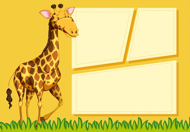 Жираф на шаблоне заметки