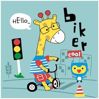 自転車の面白い動物漫画のキリン