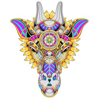 Иллюстрация орнамента жирафа и дизайн футболки премиум векторы