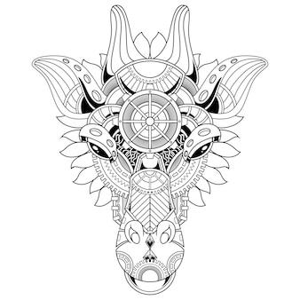 線形スタイルのキリン飾りイラスト