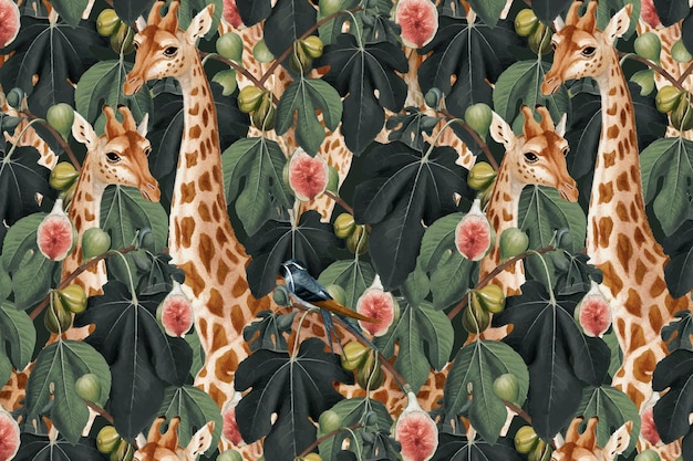Giraffe pattern background in the jungle