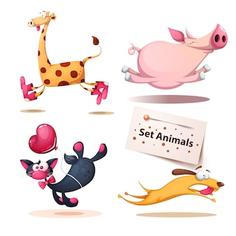 Giraffe, pig, cat, dog animals