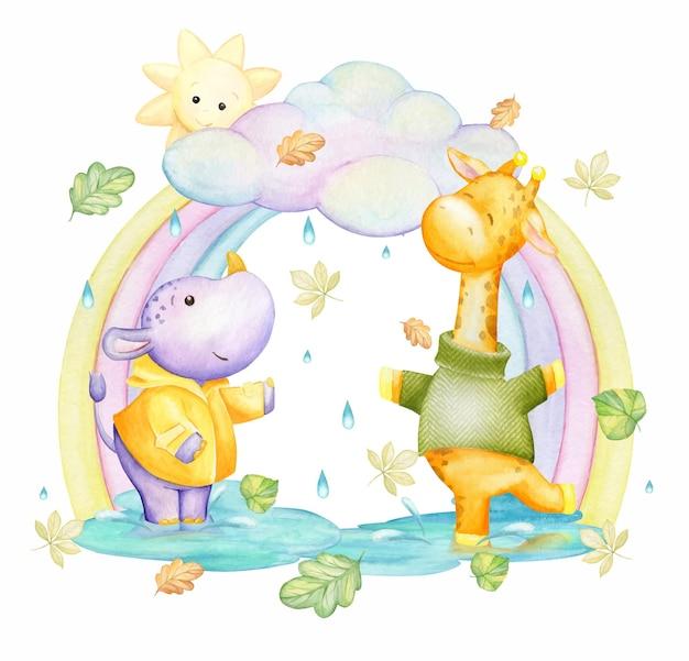 Giraffe, rhino, rainbow, clouds, rain, sun. watercolor, concept, on an fall theme, in a cartoon style.