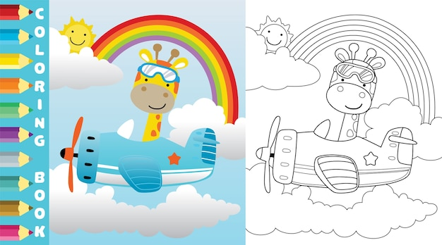 Giraffe ride on plane on rainbow background