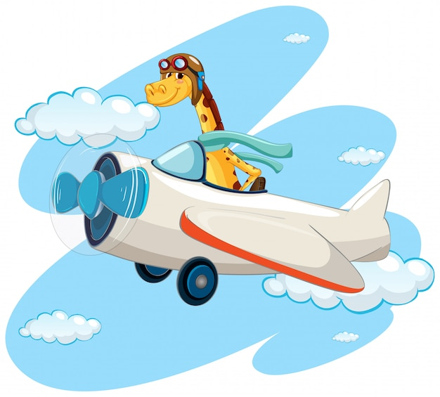 Giraffe riding vintage airplane