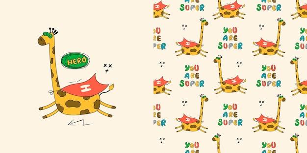 Giraffe seamless pattern. doodle with wild animals.