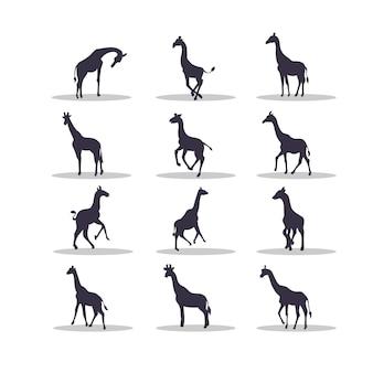Жираф силуэт векторные иллюстрации дизайн