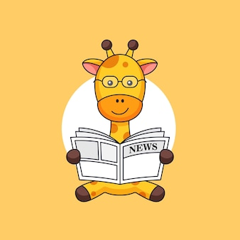 기린은 아침 동물 활동 개요 그림에 앉아서 신문을 읽습니다.
