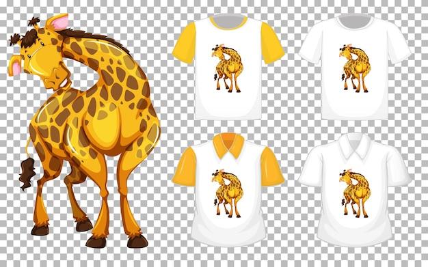 Giraffa in personaggio dei cartoni animati di posizione stand con molti tipi di camicie su sfondo trasparente