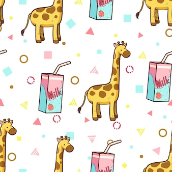 Giraffe and strawberry milk seamless pattern