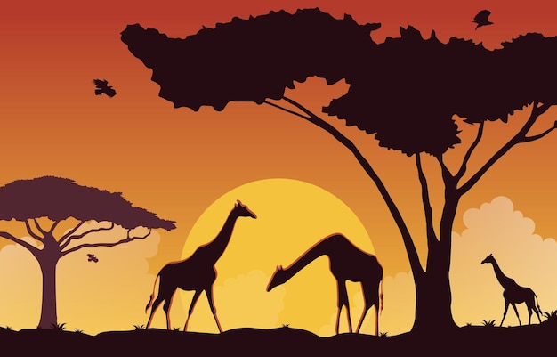 Жираф закат животных саванна пейзаж дикой природы африки иллюстрация