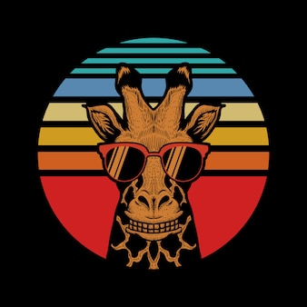 Giraffe sunset vector illustration