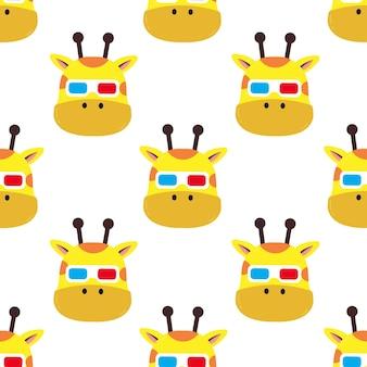 Жираф в очках бесшовные модели иллюстрации шаржа