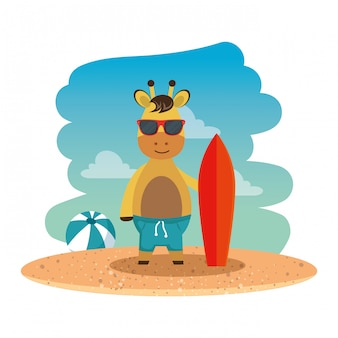 Giraffe with summer sunglasses and surfboard on the beach