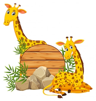 Giraffe on wooden bannner