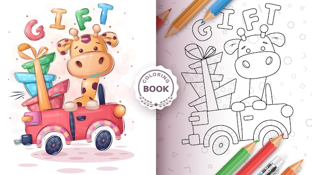 Giraffer in the car - coloring book