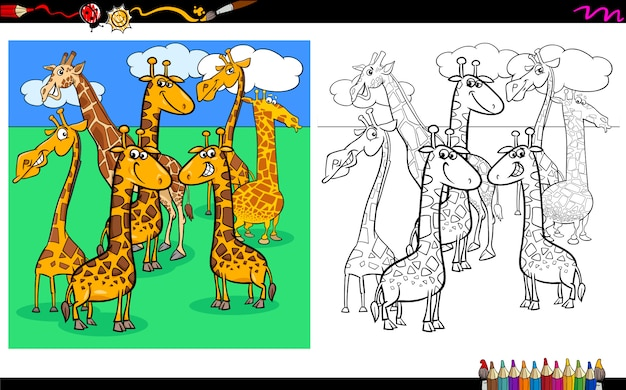 Giraffes animal characters group coloring book
